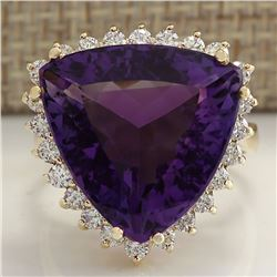 14.31 CTW Natural Amethyst And Diamond Ring In 18K Solid Yellow Gold