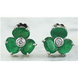 3.08 CTW Emerald 18K White Gold Diamond Earrings