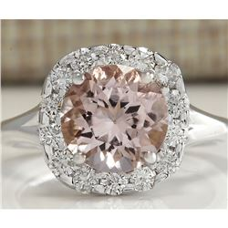 3.19 CTW Natural Peach Morganite And Diamond Ring In 18K Solid White Gold