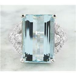 10.10 CTW Aquamarine 14K White Diamond Ring