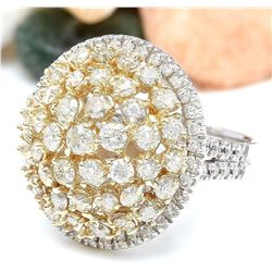 4.28 CTW Natural Diamond 14K Solid Two Tone Gold Ring