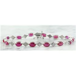 8.50 CTW Ruby 14K White Gold Diamond Bracelet