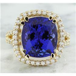 8.90 CTW Tanzanite 18K Yellow Gold Diamond Ring