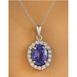2.00 CTW Tanzanite 14K White Gold Diamond Necklace