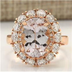 5.48 CTW Natural Morganite And Diamond Ring 18K Solid Rose Gold