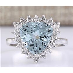 3.25 CTW Natural Aquamarine And Diamond Ring In 14k White Gold