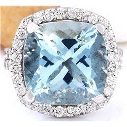 10.88 CTW Natural Aquamarine 18K Solid White Gold Diamond Ring