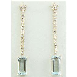 9.35 CTW Aquamarine 18K Yellow Gold Diamond Earrings