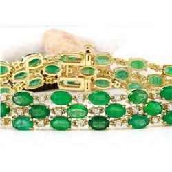 25.25 CTW Natural Emerald 14K Solid Yellow Gold Diamond Bracelet