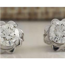 0.55 CTW Natural Diamond Earrings 18K Solid White Gold