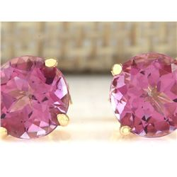 3.00 CTW Natural Pink Tourmaline Earrings 14k Solid Yellow Gold