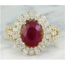 5.10 CTW Ruby 18K Yellow Gold Diamond Ring