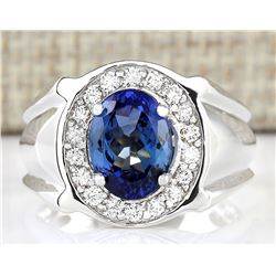 4.51 CTW Natural Blue Tanzanite And Diamond Ring 18K Solid White Gold