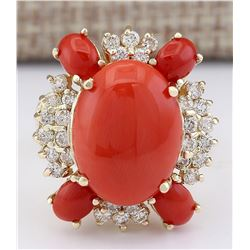 9.71 CTW Natural Coral And Diamond Ring In 18K Yellow Gold