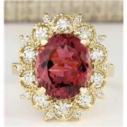 6.60 CTW Natural Pink Tourmaline And Diamond Ring In18K Solid Yellow Gold