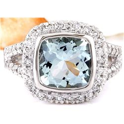 3.25 CTW Natural Aquamarine 18K Solid White Gold Diamond Ring