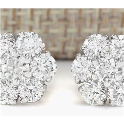 2.30 CTW Natural Diamond Earrings 18K Solid White Gold
