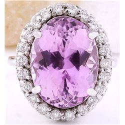 15.02 CTW Natural Kunzite 18K Solid White Gold Diamond Ring