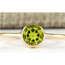 1.00 CTW Natural Peridot Ring In 14k Yellow Gold