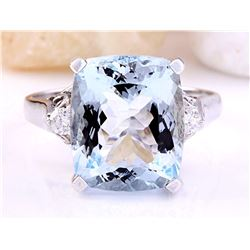 5.58 CTW Natural Aquamarine 18K Solid White Gold Diamond Ring