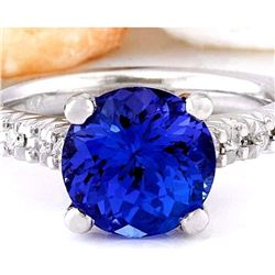 3.81 CTW Natural Tanzanite 18K Solid White Gold Diamond Ring