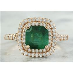 2.25 CTW Emerald 14K Rose Gold Diamond Ring