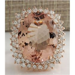 20.05 CTW Natural Morganite And Diamond Ring 18K Solid Rose Gold