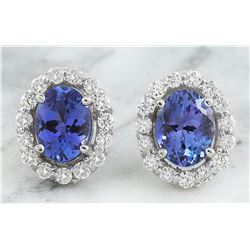 3.07 CTW Tanzanite 18K White Gold Diamond Earrings