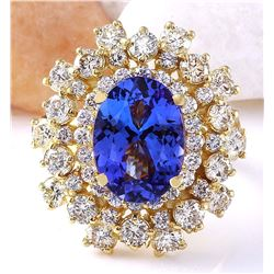 6.82 CTW Natural Tanzanite 18K Solid Yellow Gold Diamond Ring