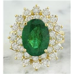 7.10 CTW Emerald 18K Yellow Gold Diamond Ring
