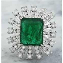 7.60 CTW Emerald 14K White Gold Diamond Ring