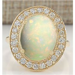 5.25 CTW Natural Opal And Diamond Ring In 18K Yellow Gold