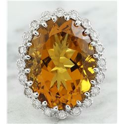 15.50 CTW Citrine 14K White Gold Diamond Ring