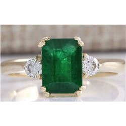 1.94 CTW Natural Emerald And Diamond Ring 18K Solid Yellow Gold