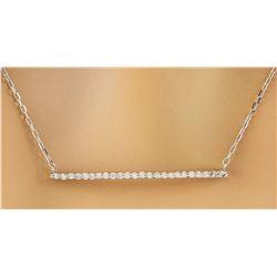 0.30 CTW Diamond 14K White Gold Bar Necklace