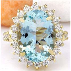 7.97 CTW Natural Aquamarine 18K Solid Yellow Gold Diamond Ring