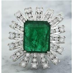 7.60 CTW Emerald 18K White Gold Diamond Ring