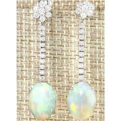 7.97 CTW Natural Opal And Diamond Earrings 18K Solid White Gold