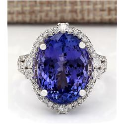 12.87 CTW Natural Blue Tanzanite And Diamond Ring 18K Solid White Gold