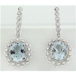 8.65 CTW Aquamarine 14K white Gold Diamond Earrings
