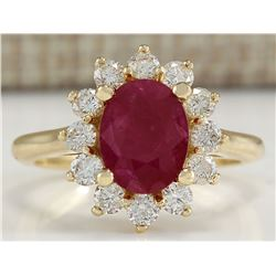 3.57 CTW Natural Ruby And Diamond Ring 18K Solid Yellow Gold