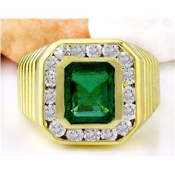3.57 CTW Natural Emerald 18K Solid Yellow Gold Diamond Ring