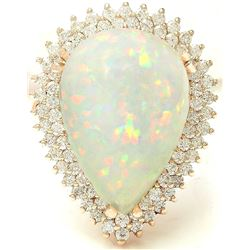 13.18 CTW Natural Opal 18K Solid Yellow Gold Diamond Ring