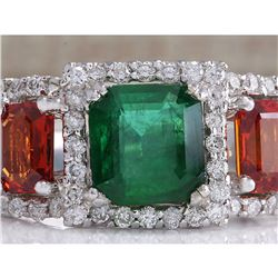 3.63 CTW Natural Emerald Ad Sapphire Diamond Ring 18K Solid White Gold