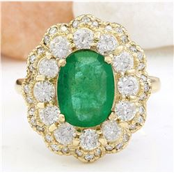 4.48 CTW Natural Emerald 14K Solid Yellow Gold Diamond Ring