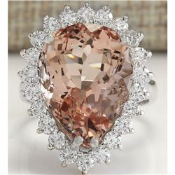 13.43 CTW Natural Peach Morganite And Diamond Ring In 14K Solid White Gold