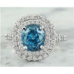 5.95 CTW Zircon 18K White Gold Diamond Ring