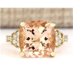 8.11 CTW Natural Morganite And Diamond Ring In 18K Yellow Gold