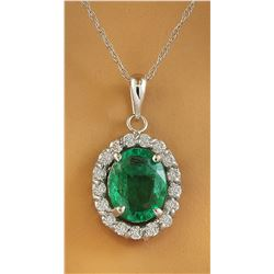 2.00 CTW Emerald 14K White Gold Diamond Necklace