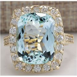 9.50 CTW Natural Aquamarine And Diamond Ring In 18K Solid Yellow Gold